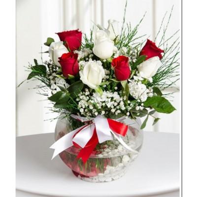 Fanusta Beyaz ve Kırmızı Güller